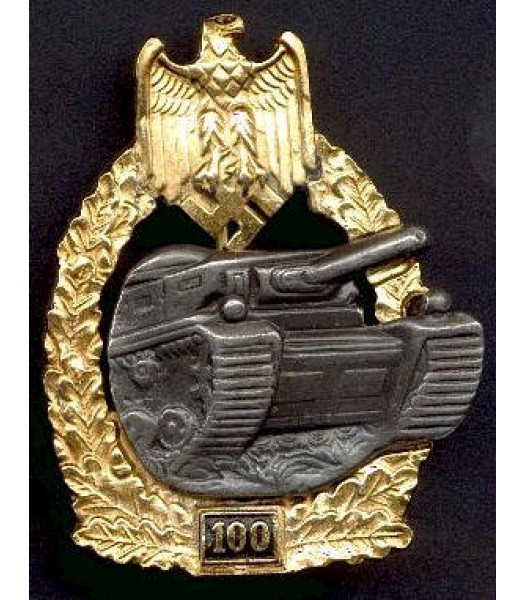 WW2 German Panzer Tank battle badge - 100 Actions Gold and Silver