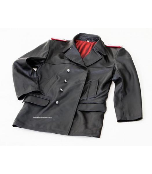 U-boat leather deck jacket fall collar - ww2 german leather jacket - BLACK
