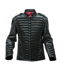 Leather Hussars Jacket with Black Frogging
