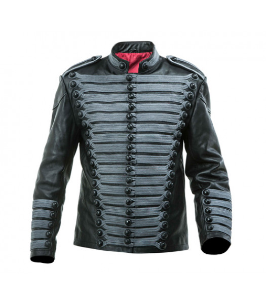 Leather Hussars Jacket with Grey Frogging