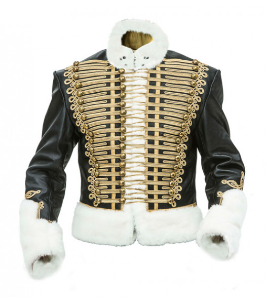 Leather Hussars Jacket with Gold Frogging