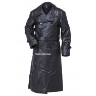 WW2 German Gestapo leather trench coat BLACK
