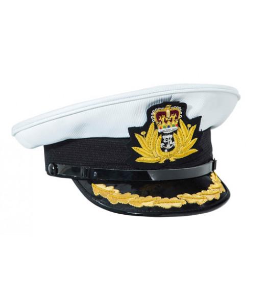 WW2 British Royal Navy Commanders peaked cap white top