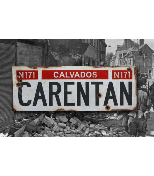 Carentan - Vintage WW2 Road And Place Name Sign