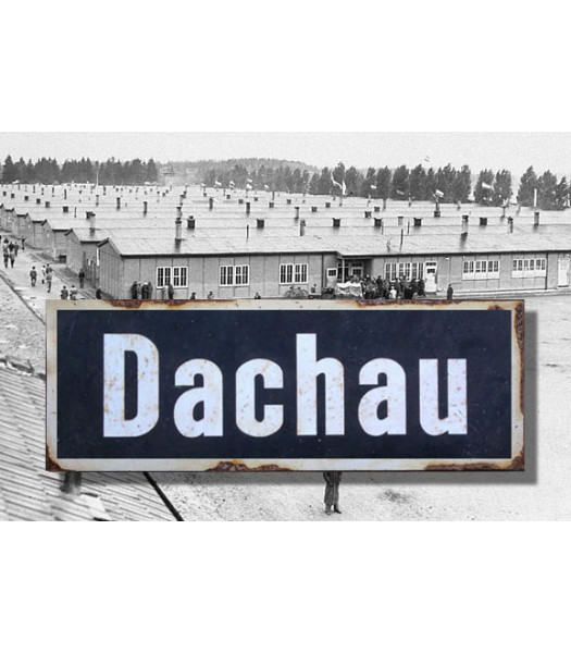 MILITARY PROP HIRE Dachau - Vintage WW2 Road And Place Name Sign