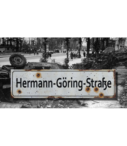 Herman Goring Strasse - Vintage WW2 Road and Place Name Sign