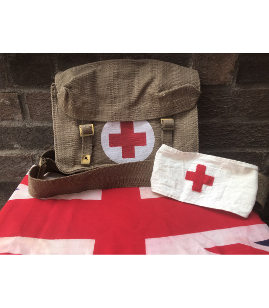 MILITARY PROP HIRE - Red Cross medical bag and armband