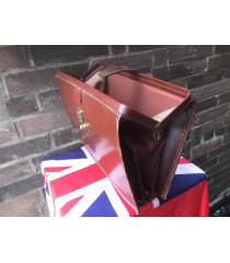 MILITARY PROP HIRE - Vintage leather brief case