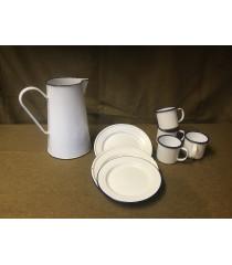 MILITARY PROP HIRE - WW2 British Army tin mugs, plates and jug