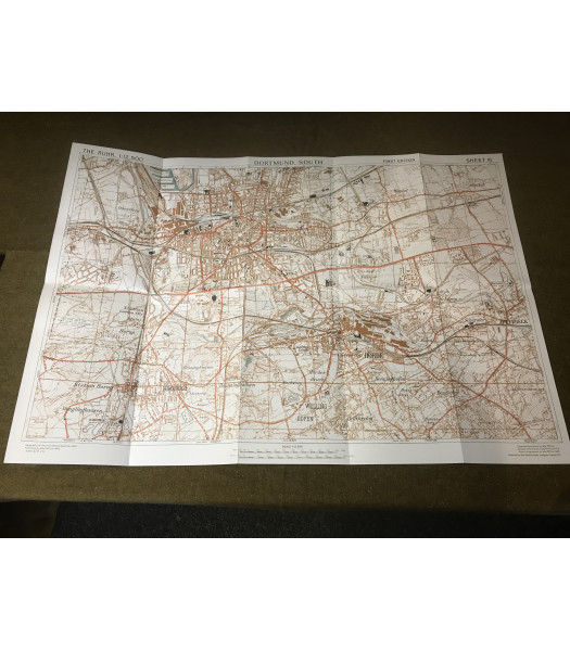 MILITARY PROP HIRE - WW2 British Map of Dortmund Germany 1945
