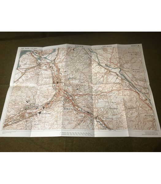 MILITARY PROP HIRE - WW2 British Map of Hagen Germany 1945