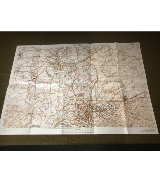 MILITARY PROP HIRE - WW2 British Map of Witten Germany 1945