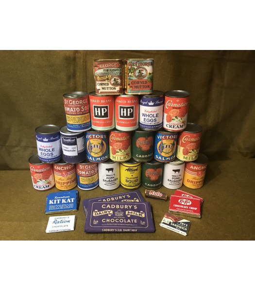 MILITARY PROP HIRE -  WW2 British tinned food and chocolate