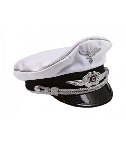 WW2 Luftwaffe officers white cotton visor Cap