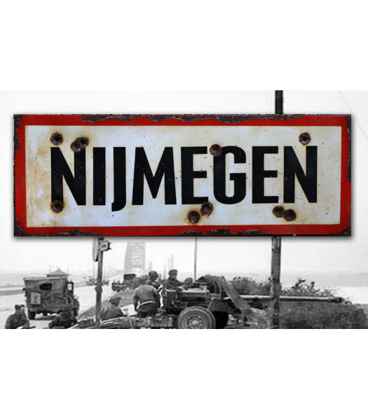 Nijmegen - vintage WW2 road and place name sign