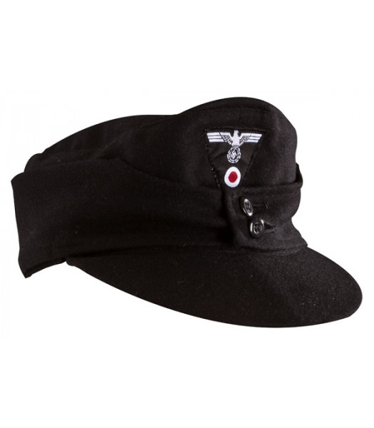 WW2 German WW2 M43 Field Cap - Black wool with insignia