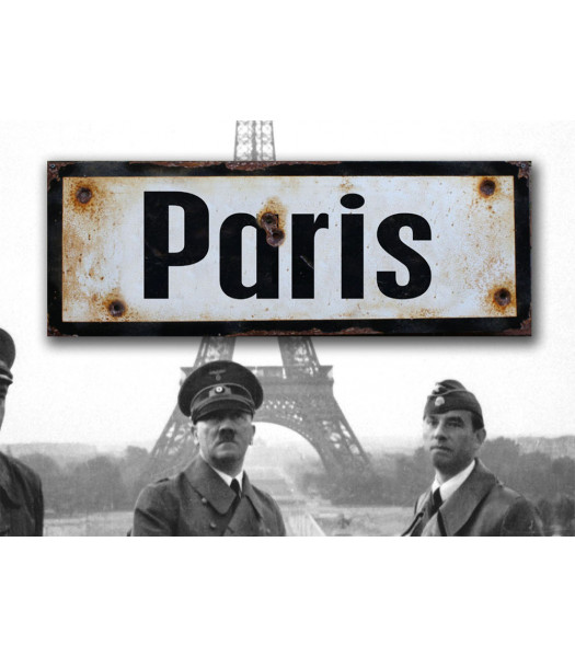 MILITARY PROP HIRE Paris - vintage WW2 road and place name sign