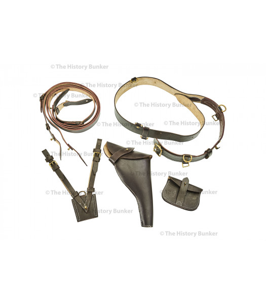 WW1 British Army officer leather Sam Brown equipment set