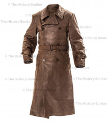WW2 German Gestapo leather trench coat BROWN