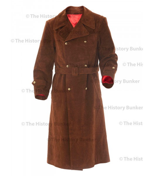 German SENIOR Officers Great Coat SUEDE - WW2 German Leather Coat