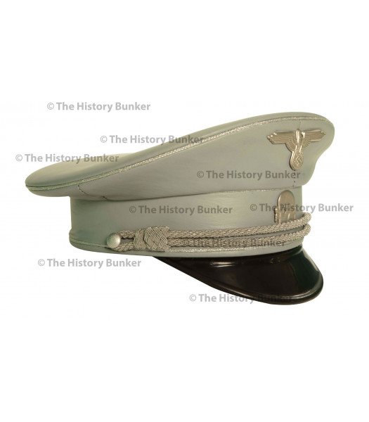 SS m32 tricot visor in leather  - WW2 German officers cap - GREY