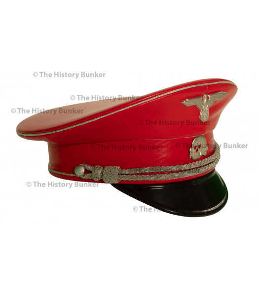 SS m32 tricot visor in leather  - WW2 German officers cap - RED