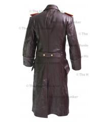 German SENIOR Officers leather Great Coat BROWN - WW2 German Leather Coat