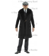Edwardian Mens double breasted overcoat - BLACK