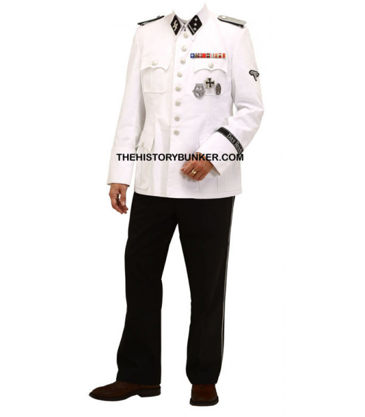 WW2 German SS dress uniform - white cotton tunic and black tricot trousers