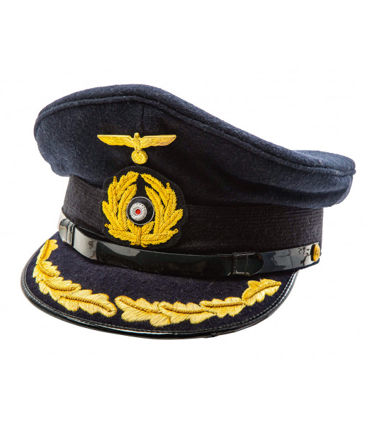 Kriegsmarine Captains Visor  Cap black top