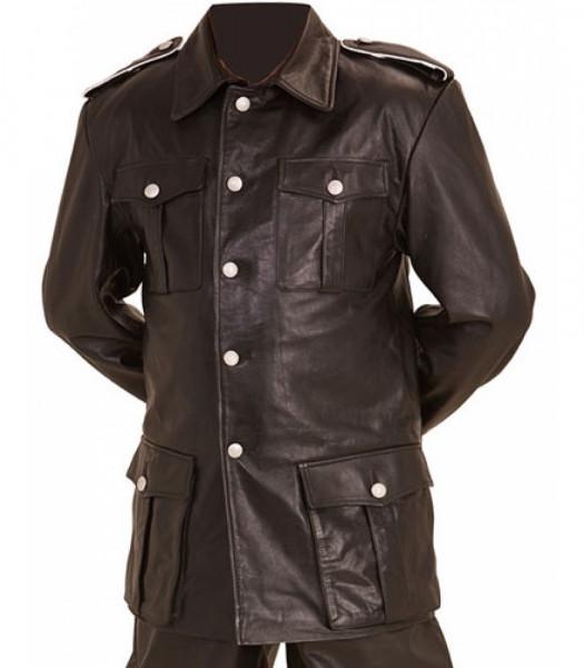 WW2 German style M36 leather tunic BLACK