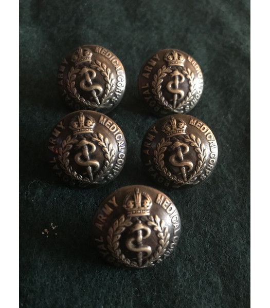 Royal Army Medical Corps buttons 24mm  WW1 set of 5