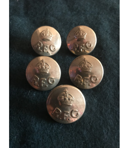 Royal Flying Corps buttons 24mm  WW1 set of 5
