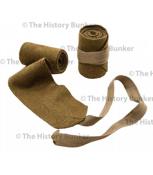 WW1 British puttees leg wraps - pair - made in England