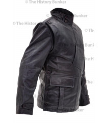 WW1 Royal Flying Corps leather coat  short version - BLACK